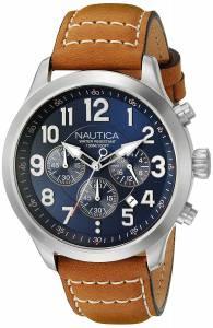 [ノーティカ]Nautica 'NCC 01 CHRONO' Quartz Stainless Steel and Leather Casual Watch, NAD14531G