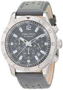 [ノーティカ]Nautica  'NST 21' Quartz Stainless Steel and Leather Casual Watch, NAD16546G