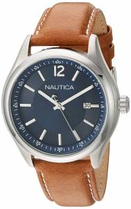 [ノーティカ]Nautica 'NCC 03' Quartz Stainless Steel and Leather Casual Watch, NAD11014G