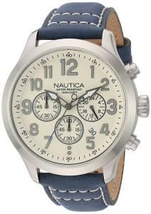 [ノーティカ]Nautica 'NCC 01 CHRONO' Quartz Stainless Steel and Leather Casual Watch, NAD14530G