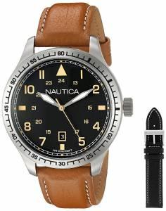 [ノーティカ]Nautica 'BFD 105 DATE' Quartz Stainless Steel and Leather Casual Watch, NAD11018G