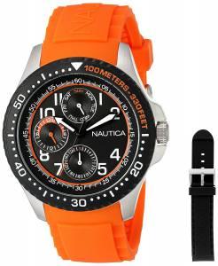 [ノーティカ]Nautica 'NSR 200' Quartz Stainless Steel and Silicone Casual Watch, NAD14534G