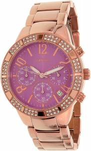 [ゲス]GUESS  Rose Gold Tone Swarovski Pink Dial Chronograph Watch U0141L7 レディース