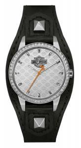 [ブローバ]Bulova  HarleyDavidson Crystal Embellish Shaped Cuff Watch, Black/Silver 76L183