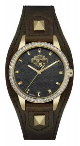 [ブローバ]Bulova  HarleyDavidson Crystal Embellished Shaped Cuff Watch, Brown/Gold 77L105
