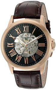 [ルシアン ピカール]Lucien Piccard 'Calypso' Stainless Steel and Leather LP-12683A-RG-01-BRW
