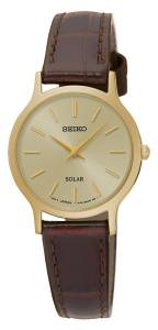 [セイコー]Seiko Watches Seiko Solar SUP302 Gold Tone Dial Brown Leather Band Watch Solar Damen