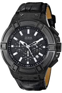 [ゲス]GUESS STEEL ,Men's Rigor,Chronograph,Dress Sport,Genuine Leather Strap,Dark W0408G1