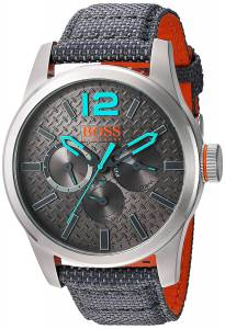 [ヒューゴボス]HUGO BOSS BOSS Orange Quartz Stainless Steel and Resin Watch, Color:Grey 1513379