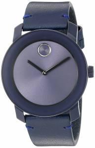 [モバード]Movado  Swiss Quartz Stainless Steel and Leather Watch, Color: Blue 3600370 メンズ