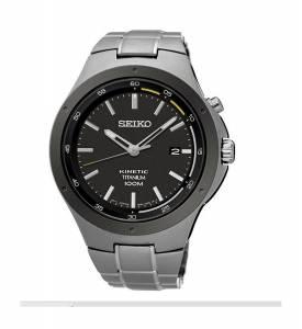 [セイコー]Seiko Watches 腕時計 Seiko Kinetic Black Dial Titanium Band Watch SKA715 メンズ
