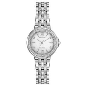 [シチズン]Citizen  Diamond EcoDrive White Dial Stainless Steel Bracelet Watch EM0440-57A