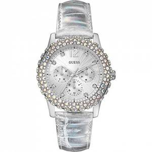 [ゲス]GUESS 腕時計 Silver Leather Strap Swarovski Crystal Watch W0336L1 レディース