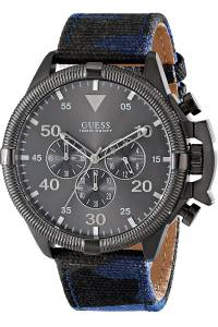 [ゲス]GUESS STEEL ,Men's Chronograph,Stainless Steel Case,Leather Strap,Screw Crown,100m W0480G3