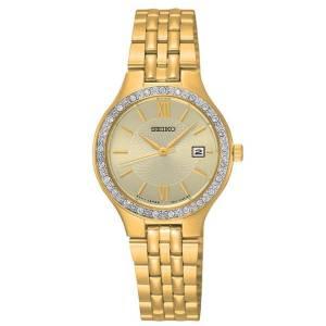 [セイコー]Seiko Watches  New Seiko Gold Tone Swarovski Crystal Elements Gold Dial Watch SUR756