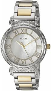 [ゲス]GUESS  Dressy SilverTone Watch with MOP Dial , CrystalAccented Bezel and U0831L3