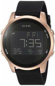 [ゲス]GUESS Trendy Rose GoldTone Stainless Steel Watch with Digital Dial and Black Strap U0787G2