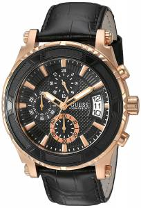 [ゲス]GUESS  Dressy Rose GoldTone Stainless Steel Watch with Chronograph Dial and Black U0673G5