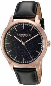 [アクリボス XXIV]Akribos XXIV RoseTone Case with Blue Goldstone Dial on Black Genuine AK937BKBU
