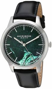 [アクリボス XXIV]Akribos XXIV SilverTone Case with Green Marble Dial on Black Genuine AK937BKGN