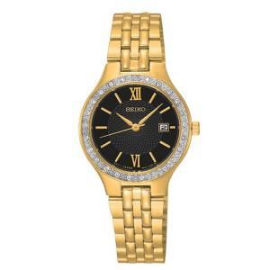 [セイコー]Seiko Watches  Seiko Stainless Steel Gold Bracelet Band Black Dial Watch SUR754
