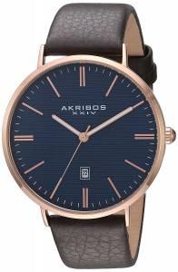 [アクリボス XXIV]Akribos XXIV RoseTone Case with Textured Blue Dial on Brown Genuine AK935RGBU