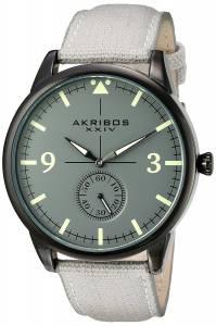 [アクリボス XXIV]Akribos XXIV Dark Gray Case with Dark Gray Dial on a Gray Canvas Strap AK938GY