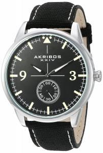 [アクリボス XXIV]Akribos XXIV SilverTone Case with Black Dial on Black Canvas Strap AK938BK