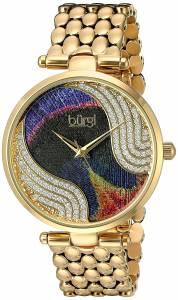 [バージ]Burgi  Genuine Swarovski Crystal Peacock Feather Pattern Dial With GoldTone BUR162YG
