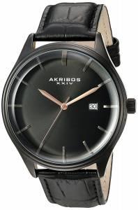 [アクリボス XXIV]Akribos XXIV Quartz Black Case with Black Sunray Dial and Rose Hands AK914BK