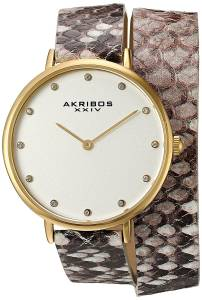 [アクリボス XXIV]Akribos XXIV Quartz GoldTone Case with Silver Dial and Swarovski AK923YGGY