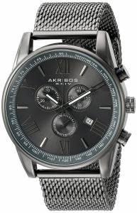 [アクリボス XXIV]Akribos XXIV Chronograph Gun Metal Stainless Steel Mesh Bracelet Watch AK813GN