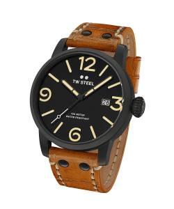 [ティーダブルスティール]TW Steel  'Maverick' Quartz Stainless and Leather Watch, MS31