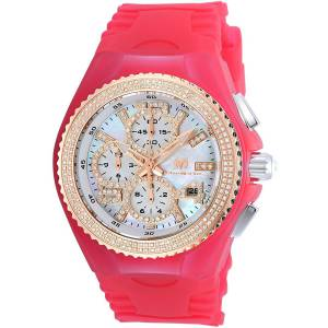[テクノマリーン]TechnoMarine  Chrono Diamond Accents Red Silicone Watch TM115250 TM-115250