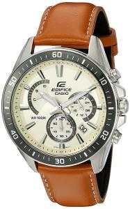 [カシオ]Casio  'Edifice' Quartz Stainless Steel and Leather Watch, Color:Brown EFR-552L-7AVCF