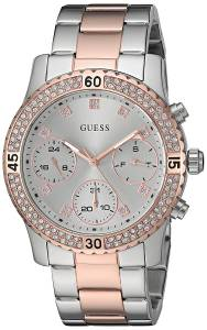 [ゲス]GUESS  Sporty SilverTone Watch with Silver Dial , CrystalAccented Bezel and U0851L3