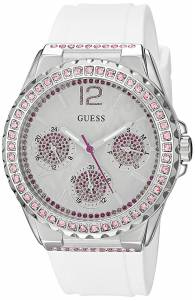 [ゲス]GUESS  Sporty SilverTone Watch with White Dial , CrystalAccented Bezel and U0032L6