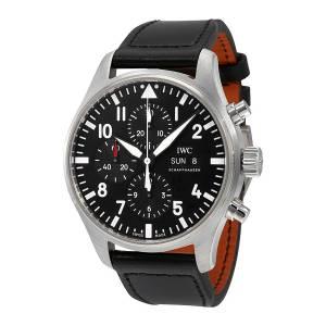 [アイダブルシー]IWC 腕時計 Pilot Black Automatic Chronograph Watch IW377709 メンズ