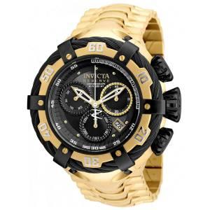 [インヴィクタ]Invicta Bolt GoldTone Steel Bracelet & Case Swiss Quartz Black Dial Analog 21360