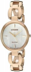[シチズン]Citizen  'EcoDrive L' Quartz Stainless Steel and Gold Dress Watch EM0423-56A