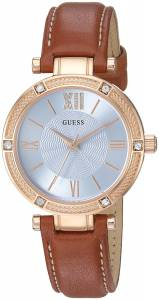 [ゲス]GUESS  Dressy Rose GoldTone Watch with Blue Dial , CrystalAccented Bezel and U0838L2
