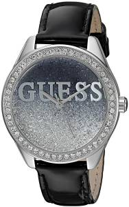 [ゲス]GUESS  Trendy SilverTone Watch with Black Dial , CrystalAccented Bezel and U0823L2