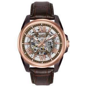 [ブローバ]Bulova Mechanical Hand Wind Stainless Steel and Leather Dress Watch, 98A165