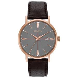 [ブローバ]Bulova  Quartz Stainless Steel and Leather Dress Watch, Color:Brown 97B154 メンズ