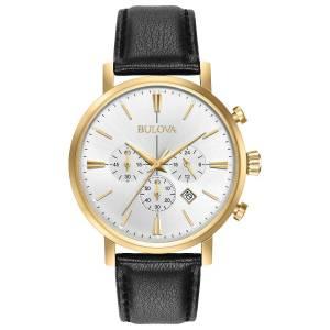 [ブローバ]Bulova  Quartz Stainless Steel and Leather Dress Watch, Color:Black 97B155 メンズ