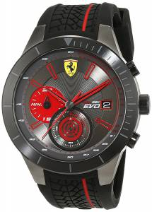 [フェラーリ]Ferrari 46mm Black Rubber Band Steel Case Quartz Grey Dial Analog 7613272214841