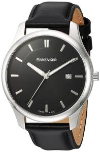 [ウェンガー]Wenger 'City Classic' Swiss Quartz Stainless Steel and Leather Casual 01.1441.101