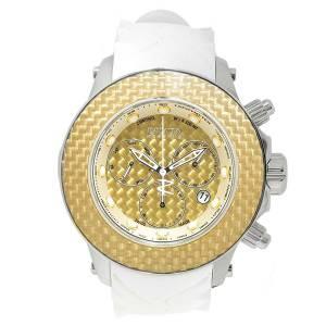 [インヴィクタ]Invicta Reserve Gold Tone Glass Fiber Dial White Silicone Strap 22144