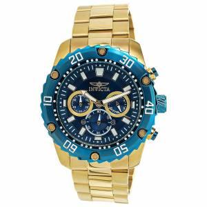 [インヴィクタ]Invicta Pro Diver Chronograph Blue Dial Yellow Gold Steel Bracelet Watch 22518