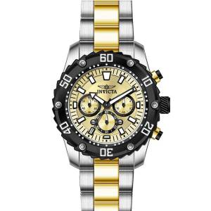 [インヴィクタ]Invicta Pro Diver Chronograph Gold Dial Two Tone Yellow Gold Bracelet 22519